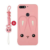 Чехол Funny-Bunny 3D для Huawei Y6 Prime 2018 Бампер резиновый розовый