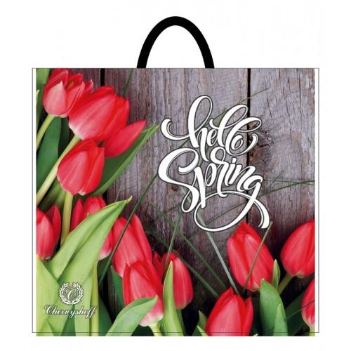 Полиэтиленовый пакет с пластиковой ручкой (сумка) ''Красные тюльпаны'' 380*340, 10 шт