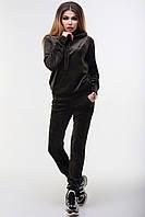 Женский велюровый спортивный костюм штаны и кофта с капюшоном хаки 42 44 46, фото 1