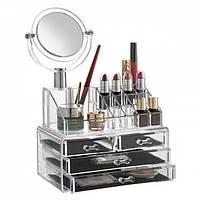 Настольный ящик органайзер для хранения косметики, косметик бокс с зеркалом JN-870