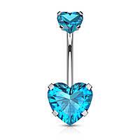 Пірсинг в пупок із сталі «Сердечко» блакитного кольору Spikes NS015-Q