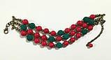 Браслет трехрядный из Коралла Панянка, натуральный камень, цвет красный, бронза, тм Satori \ Sb - 0266, фото 3