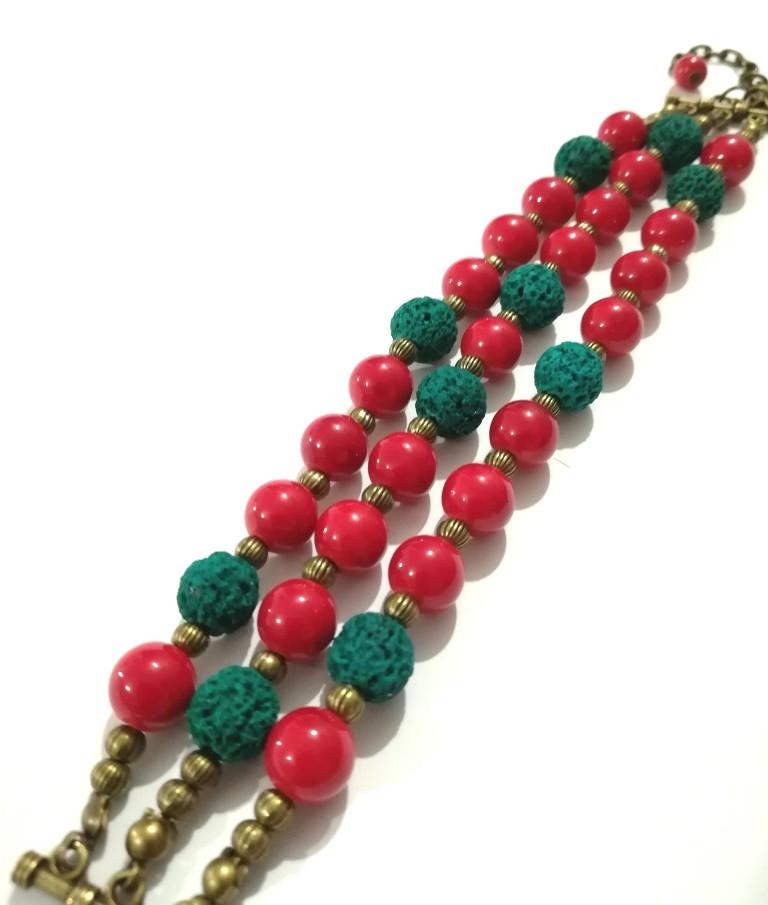 Браслет трехрядный из Коралла Панянка, натуральный камень, цвет красный, бронза, тм Satori \ Sb - 0266