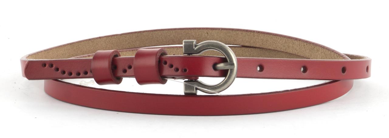 Тонкий прочный кожаный женский ремешок 1 см  (103563) красный