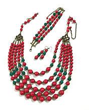 Комплект украшений Коралл Панянка, натуральный камень, цвет красный и его оттенки, тм Satori \ Sn - 0028