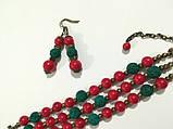Комплект из Коралла браслет + серьги, натуральный камень, цвет красный и его оттенки, тм Satori \ Sn - 0029, фото 2