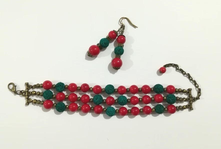 Комплект из Коралла браслет + серьги, натуральный камень, цвет красный и его оттенки, тм Satori \ Sn - 0029