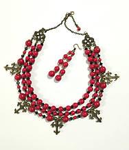 Згарды + серьги - комплект из Коралла, натуральный камень, цвет красный и его оттенки, тм Satori \ Sn - 0030