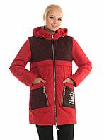Молодежная, весенняя , демисезонная куртка  с капюшоном, р с 42 по 52, красный(88)