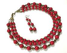 Комплект из Коралла намисто + сережки, натуральный камень, тм Satori \ Sn - 0031