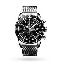 Часы Breitling SuperOcean Heritage II Chronograph 44mm Black/Silver. Реплика: AAA