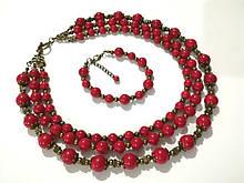 Комплект из Коралла колье трехрядное + браслет, натуральный камень, тм Satori \ Sn - 0032