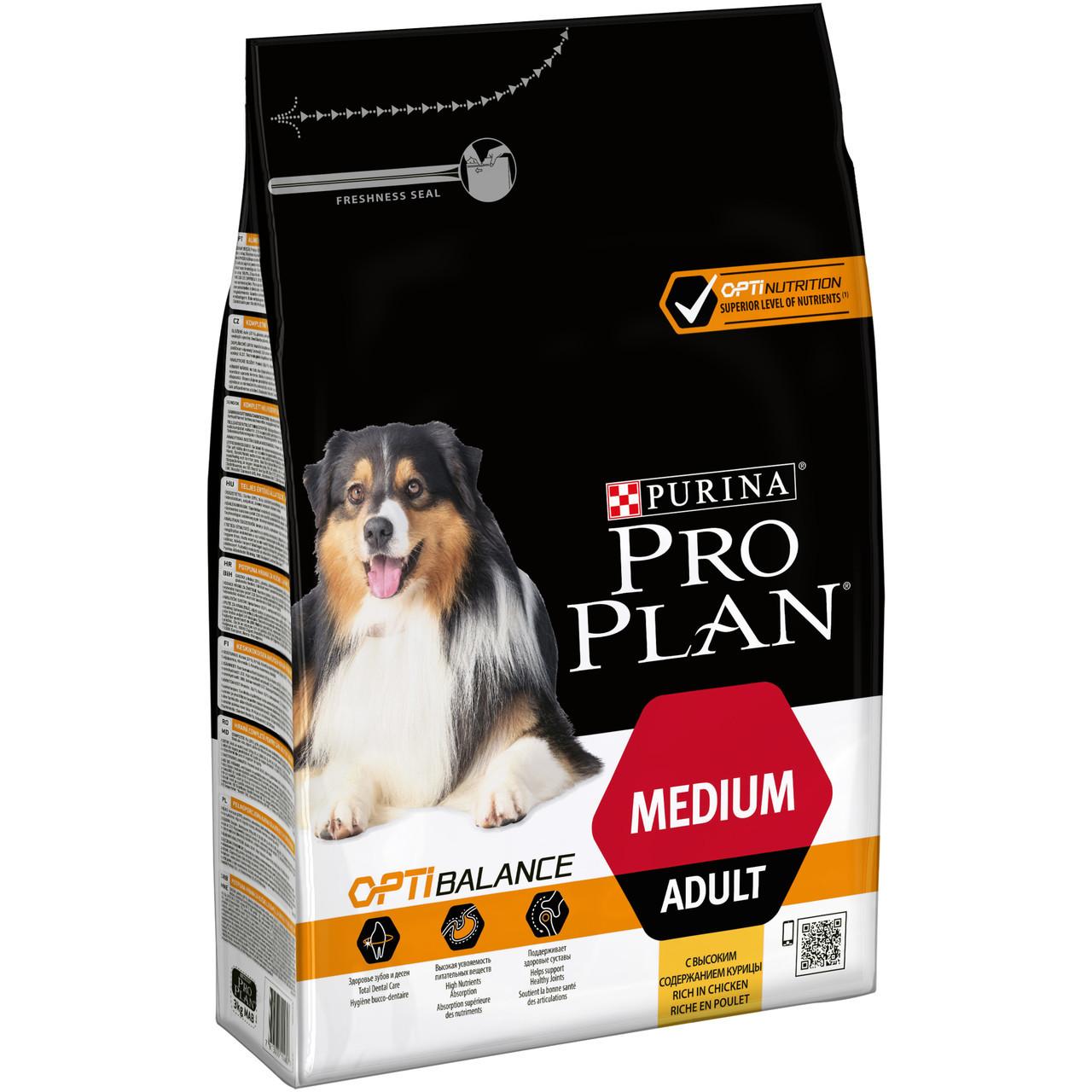 Purina Pro  Plan Dog Medium Adult с комплексом Optibalance 14кг+2,5кг - корм для собак средних пород c курицей