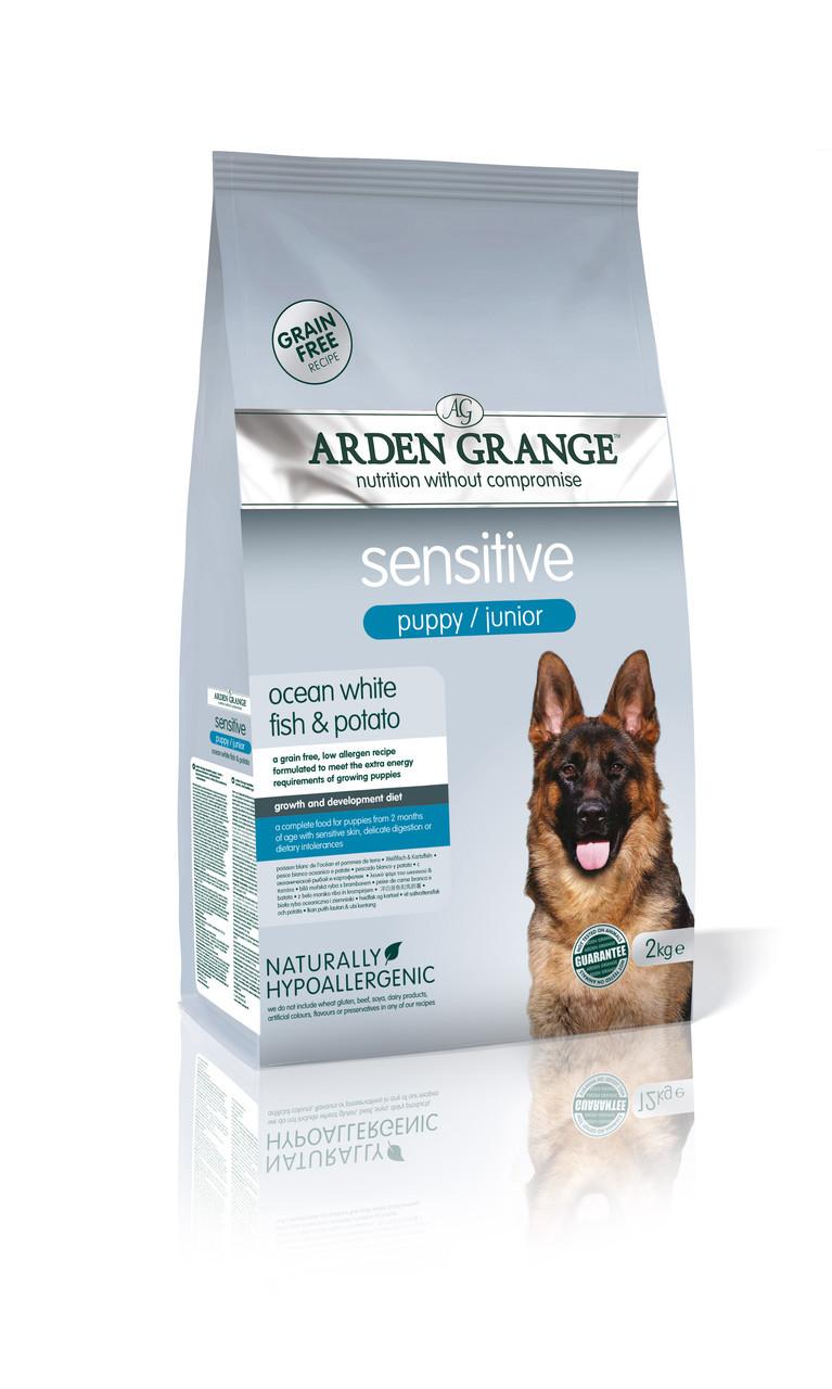 Arden Grange Sensitive Puppy/Junior  12кг- беззерновой корм для щенков с белой рыбой и картофелем