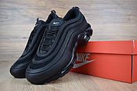 62dbefbf Кроссовки мужские Nike Air Max 97 кожаные качественные повседневные найки  под джинсы (черные),