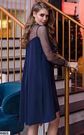 Нарядное платье женское асимметричное демисезонное 42-48 размеров Турция, 4 цвета
