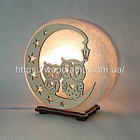Соляная лампа круглая Совы на луне