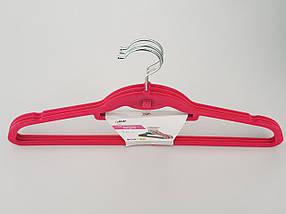 Плечики вешалки тремпеля флокированные (бархатные, велюровые) розового цвета,длина 45 см, в упаковке 3 штуки, фото 2