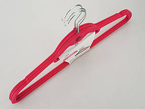 Плечики вешалки тремпеля флокированные (бархатные, велюровые) розового цвета,длина 45 см, в упаковке 3 штуки, фото 3