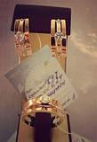 """Серебряный комплект """"Изумление"""" кольцо и серьги с золотыми вставками женский, фото 3"""