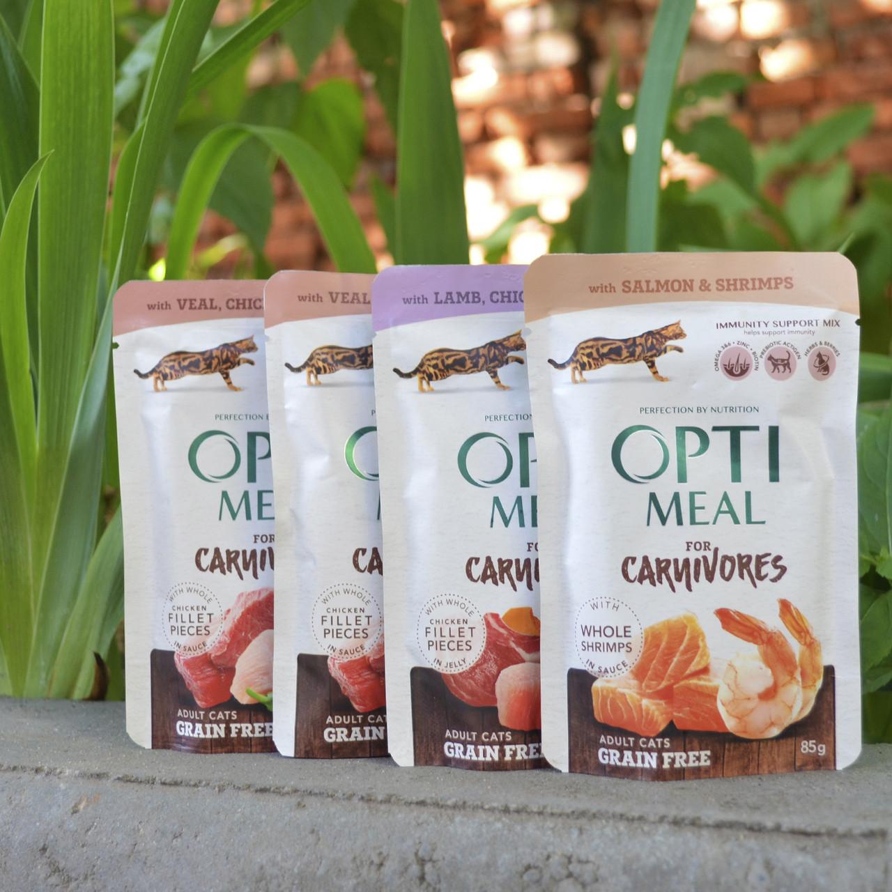 Optimeal (пауч) беззерновые консервы для кошек 85г*4шт