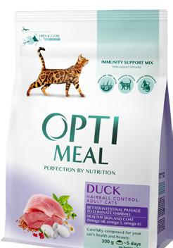 Optimeal Cat Adult Duck Hairball Control 10кг   - корм для  кошек с уткой