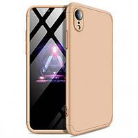 Пластиковая накладка GKK LikGus 360 градусов для Apple iPhone XR (6.1) Gold (hub_upew37783)