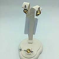 Комплект серебряных изделий серьги, кольцо. Цитрин. Кубический цирконий