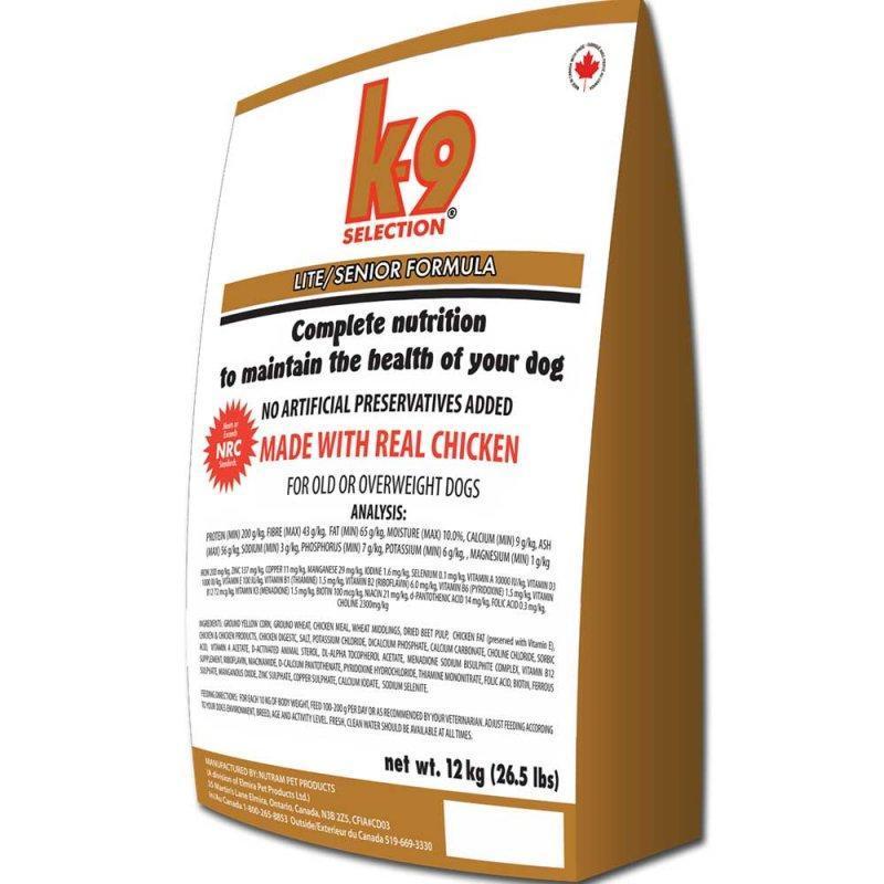 K-9 Selection Lite/Senior 12 кг- корм для пожилых собак и собак, склонных к ожирению