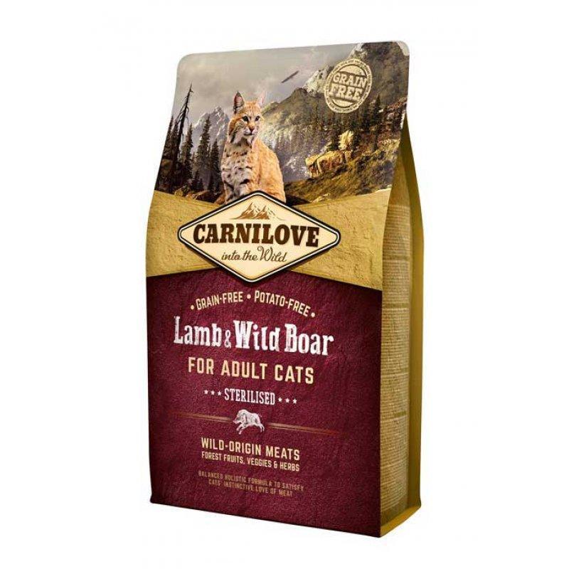 Carnilove Lamb and Wild Boar 2кг - корм для стерилизованных кошек и кастрированных котов