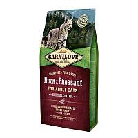 Carnilove Cat Duck & Pheasant Hairball 6кг - корм с уткой и фазаном для выведения комков шерсти