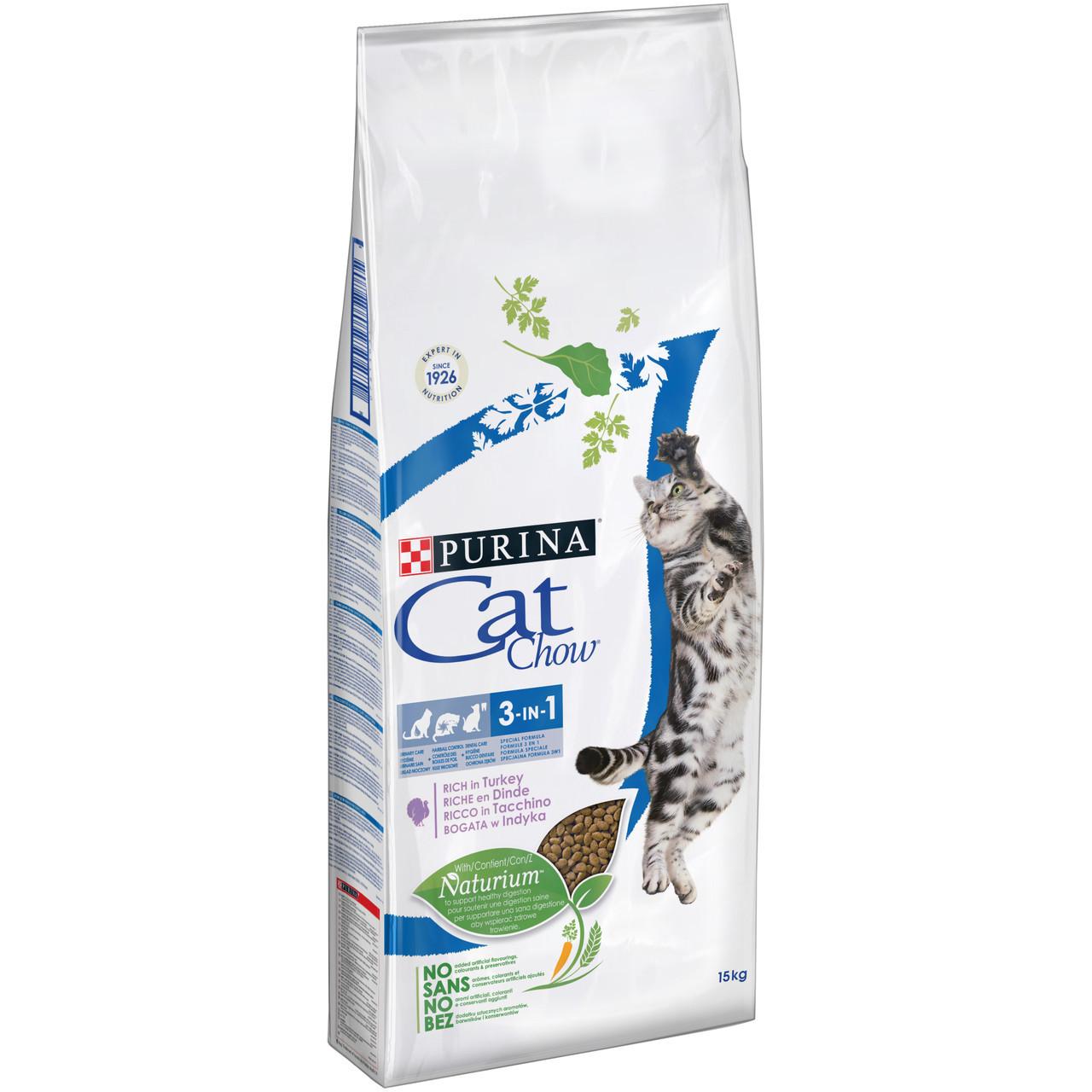 Cat Chow Feline 3 в 1 15кг-корм для кошек с индейкой