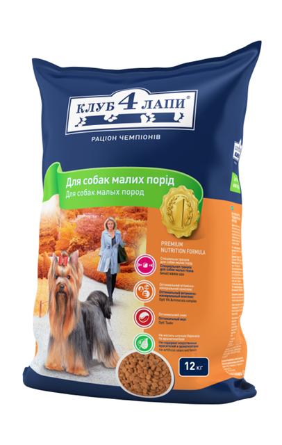 Клуб 4лапы Сухой рацион премиум класса для взрослых собак мелких пород - 12 кг