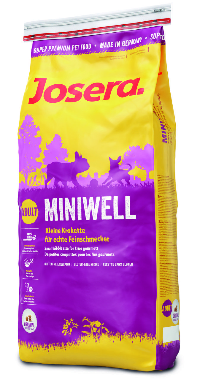 Josera Miniwell 15кг - корм с биотином для взрослых собак мелких пород  на основе птицы