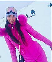 Розовый женский зимний комбинезон в стиле Odri (реплика), фото 1
