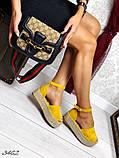 Женские босоножки на подошве плетенка  желтые и серебристые, фото 2
