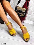 Женские босоножки на подошве плетенка  желтые и серебристые, фото 3
