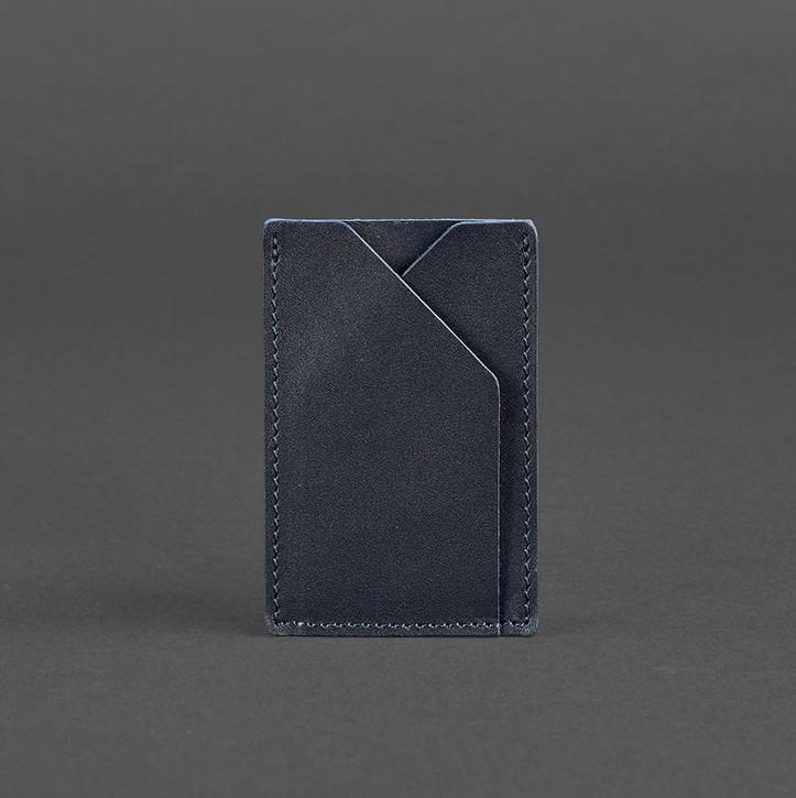 Кардхолдер компактный кожаный синий BN-KK-8-navy-blue