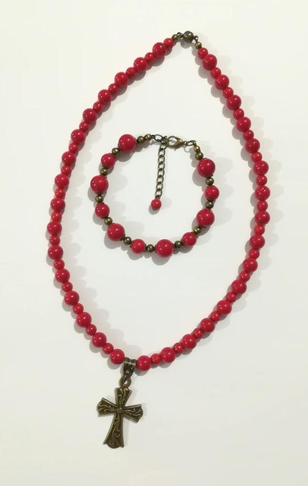 Набор украшений из Коралла намисто + браслет, натуральный камень, тм Satori \ Sn - 0033