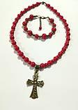 Набор украшений из Коралла намисто + браслет, натуральный камень, тм Satori \ Sn - 0033, фото 2
