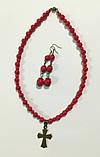 Украшения из Коралла бусы + серьги, натуральный камень, цвет красный и его оттенки, тм Satori \ Sn - 0034, фото 4