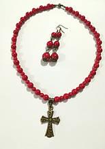 Украшения из Коралла бусы + серьги, натуральный камень, цвет красный и его оттенки, тм Satori \ Sn - 0034