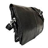 Мужская кожаная сумка почтальонка Desisan 1319-143 А4 с тиснением черный, фото 2