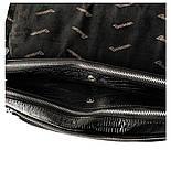 Мужская кожаная сумка почтальонка Desisan 1319-143 А4 с тиснением черный, фото 6