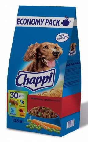 Chappi с тремя видами мяса и овощами  13,5 кг-корм для собак