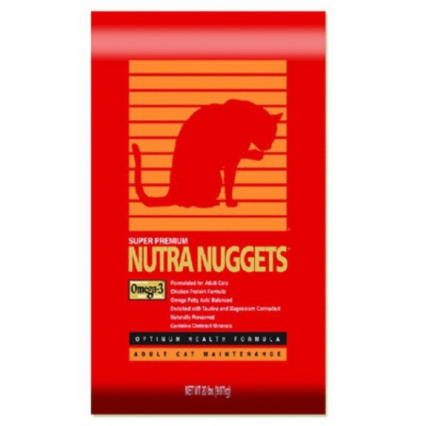 Nutra Nuggets Hairball Control Formula (красная) 10кг-корм с выведением шерсти для активных котов