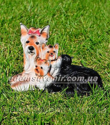 Садовая фигура Собака Семья Йорков, фото 2