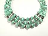 Колье трехрядное + браслет из Кошачьего глаза, натуральный камень, цвет мятный, тм Satori \ Sn - 0037, фото 3