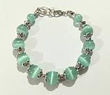 Колье трехрядное + браслет из Кошачьего глаза, натуральный камень, цвет мятный, тм Satori \ Sn - 0037, фото 2