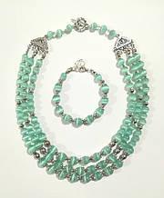 Колье трехрядное + браслет из Кошачьего глаза, натуральный камень, цвет мятный, тм Satori \ Sn - 0037
